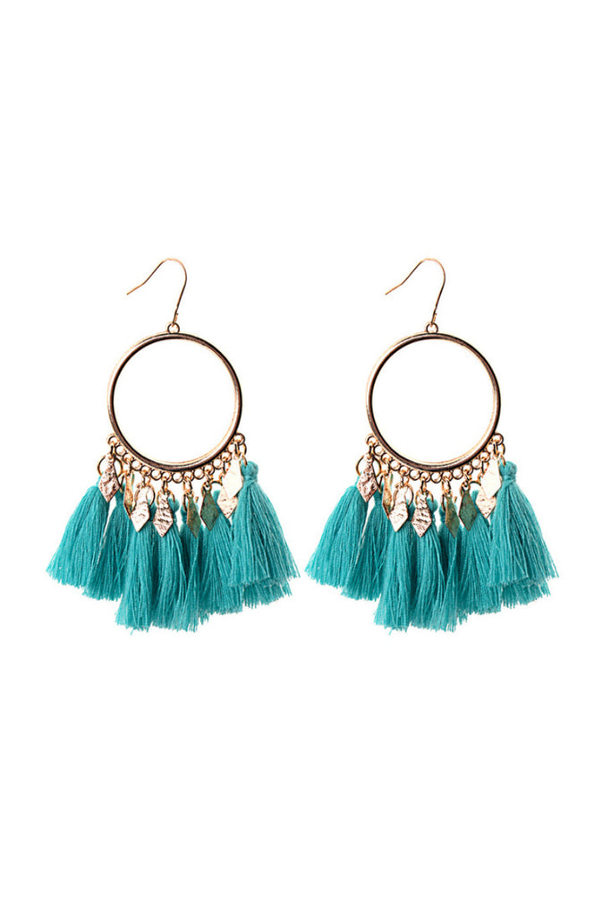 Boho statement drop earrings with gold circle and blue cotton tassels