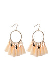 Boho statement drop earrings with gold circle and ivory cotton tassels