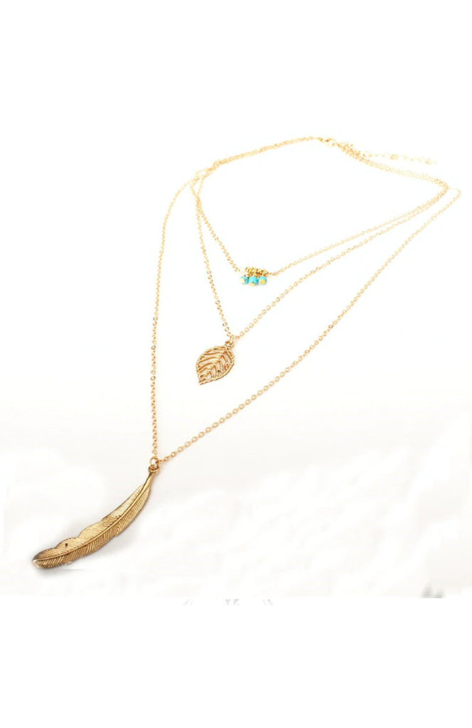 Boho Gold & Turquoise 3 Layered Feather Charm Adjustable Necklace