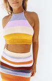 Multicolored Stripe Knitted Two-Piece Halter Top and High Waisted Mini Skirt Set