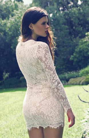 White Lace Long Sleeved Lace Up Tight Mini Dress
