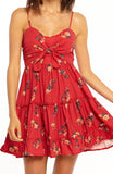 Red Floral Printed Mini Dress with Spaghetti Straps, Sweetheart Neckline, Front Tie and Flared Skirt