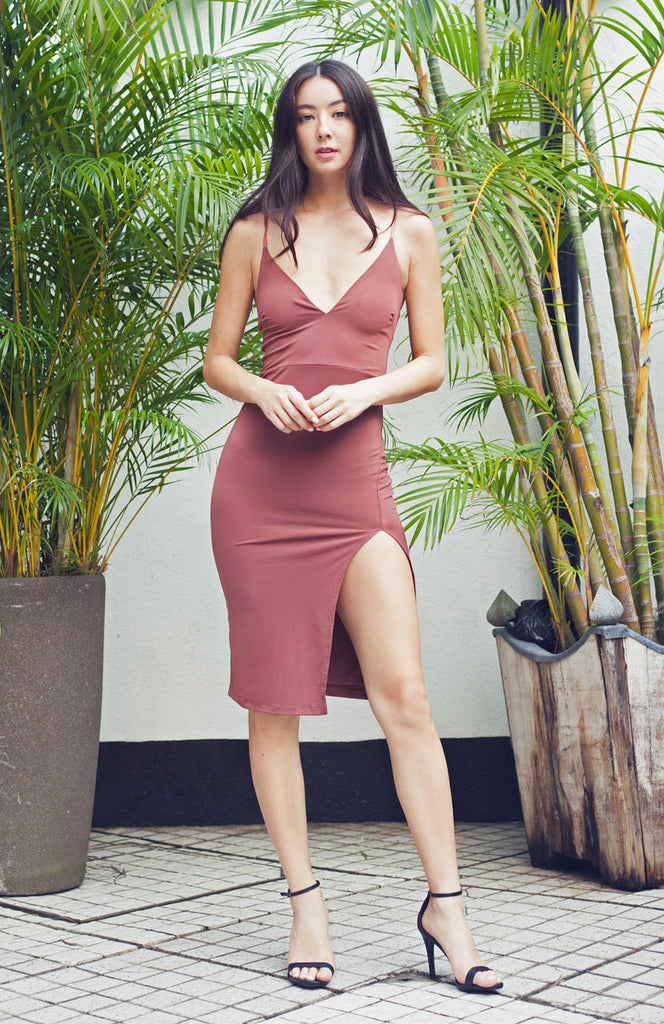 Dusty Pink Nude Bodycon Midi Dress with Thigh Split and Spaghetti Straps