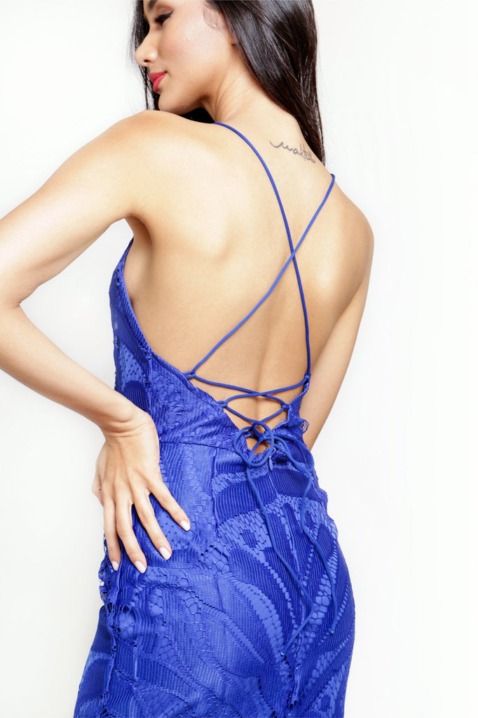 Blue Backless Lace Party Midi Dress with Fringe