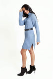 Long sleeved blue cable knit turtle neckline dress