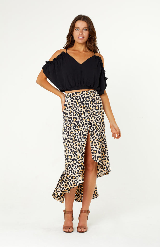 Livorno Leopard Print Skirt, high waisted asymmetric skirt, elegant split past the knee, ruffles around the hemline. Leopard satin like polyester fabric is non-stretch, has an invisible zip at back.
