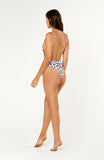 Our Laguna Leopard One Piece Swimsuit is a backless high cut hot little number with spaghetti straps, cheeky bottoms, wireless padded bust.