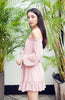 Blush Pink Semi Sheer Off the Shoulder Boho Dress with Bell Sleeves and Ruffled Hem