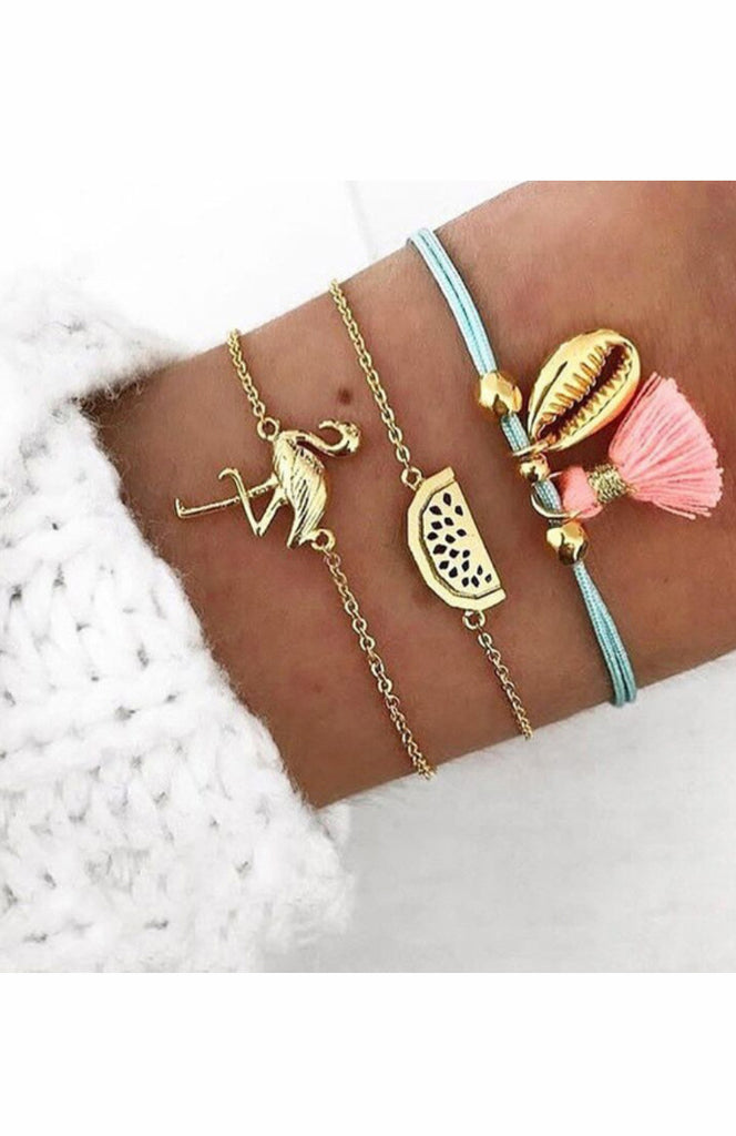 Gold chain, Blue and Pink Seashell Flamingo Watermelon Charm Three Bracelet Set