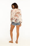 Loose Fit Floral Semi-Sheer Chiffon Long Sleeved Top With Polka Dots and Multicoloured Tassels