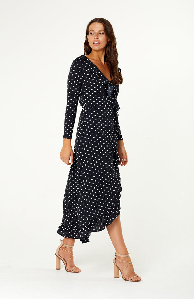 Black Asymmetrical Polka Dot Print Wrap Maxi Dress with Long Sleeves and Ruffles