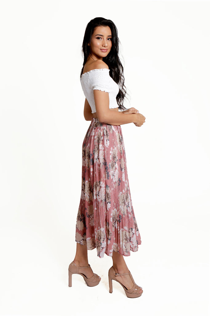 Pleated Pink Midi Skirt with Oriental Floral Print, Ruffled Elastic High-Waist, And an Empire Skirt.