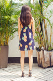 Loose Fitting Blue Printed Pineapple Slip Shift Dress