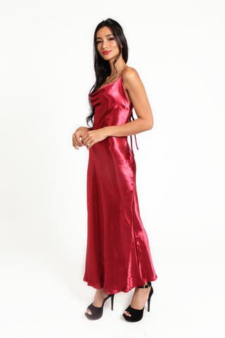 Our Poinsettia Passion Maxi Slip Dress, cowl neckline, adjustable spaghetti straps, sexy low cut back with bow tie detailing. Polyester satin fabric is non-stretch, no zip.