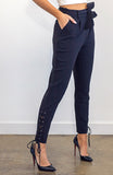 Black High Waisted Cigarette Leg Slim Pants with Side Lace-Up Detail and Waistband Tie