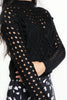 Black Crop Long Sleeve Jumper with Pom Poms and Open Knit