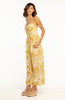 Yellow Floral Printed Full Length Jumpsuit with Sweetheart Neckline, Buttons and Spaghetti Straps