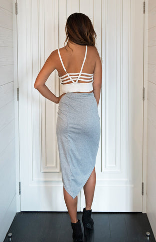 Grey High Waisted Midi Skirt with Adjustable side lace up detail