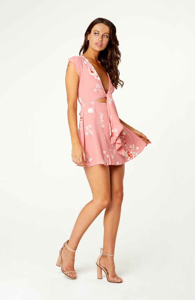 Pink Floral Printed Mini dress with Plunging Neckline, Front Tie, Under Bust Cut Out and Wrap Skirt.