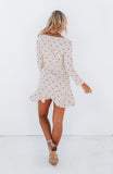 Light Pink Polka Dot Printed Linen Long Sleeved Ruffle Wrap Dress