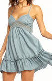 Blue Green Backless Empire Line Mini Halter Lace Dress with Flared Skirt