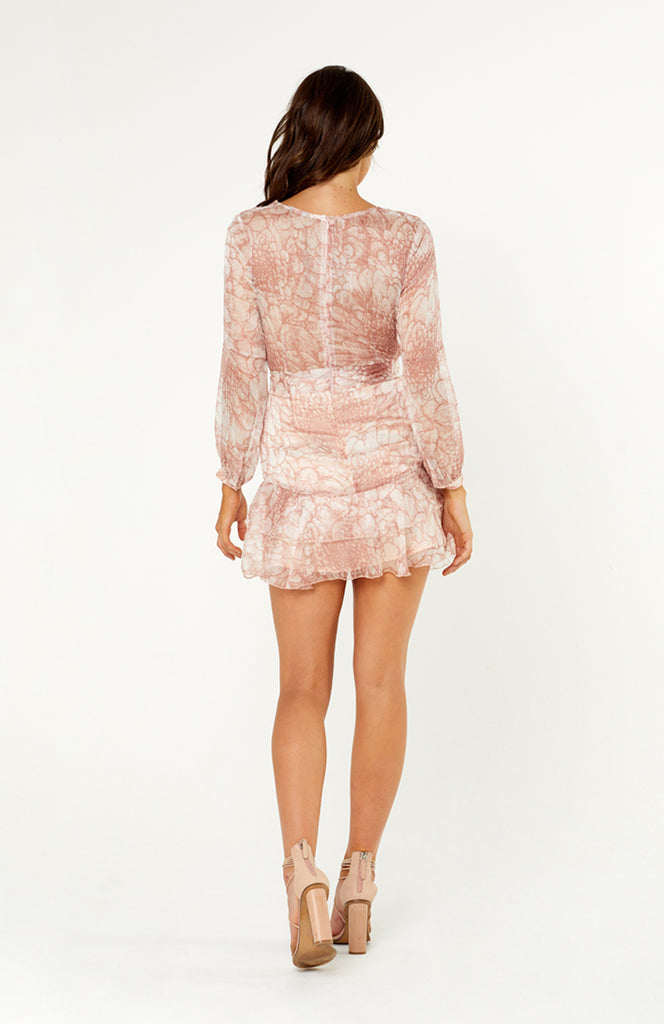 Pink Chiffon Floral Printed Long Sleeve Mini Dress with V neck, Ruffles and A-lined Skirt