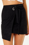 Black Suede Asymmetrical Skirt with Metallic Ring and Fold Over Tie Detail