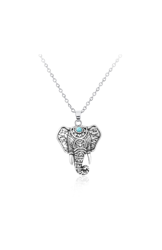 Boho Silver Turquoise Elephant Pendant Adjustable Necklace