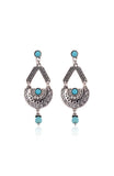 Silver Semicircle Tribal Turquoise Earrings