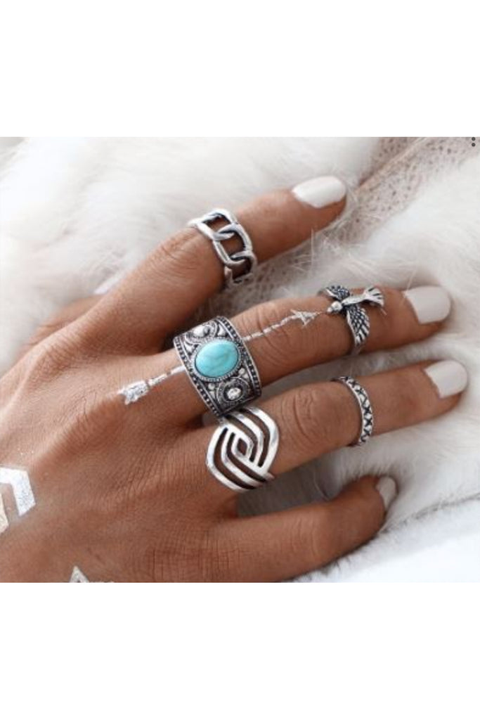 Silver & Turquoise Ring Set