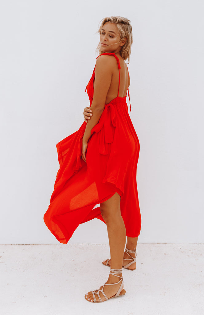 Bright Red Layered Maxi Dress with Spaghetti Straps, Cut Outs and Waist Ties