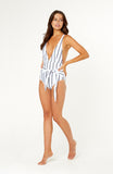 Our Omnia Stripe One Piece Swimsuit, features plunge v-neck, self-tie sash at the front, adjustable thick straps, bust is padded and wireless.