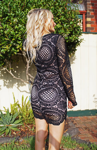 Lace Mini Dress with Full Length Sleeves and Plunging Neckline