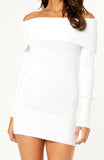 White Bodycon Long Sleeved Off-the-Shoulder Soft Knit Dress with Rib