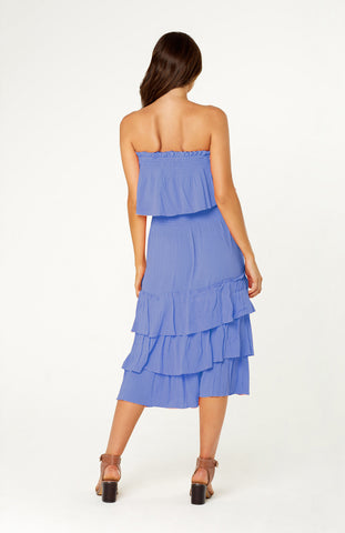 Tanah Two Piece Set, relaxed blue outfit, strapless top and a midi skirt with ruffled tiers. Both top and skirt are elasticised for the perfect fit.
