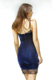 Blue Velvet Bodycon Dress with Thin Straps, Black Lace Neckline and Hemline