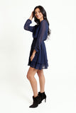 Long Sleeved Navy Dress with Embroidered Polka Dots and Layered Ruffled Hemline