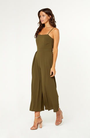 Khaki Long Wide-Leg Jumpsuit with Spaghetti Straps and Tie Back