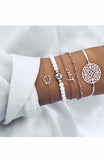 White and Gold Filigree Lotus Disc Charm 5 Chain Bracelet Set
