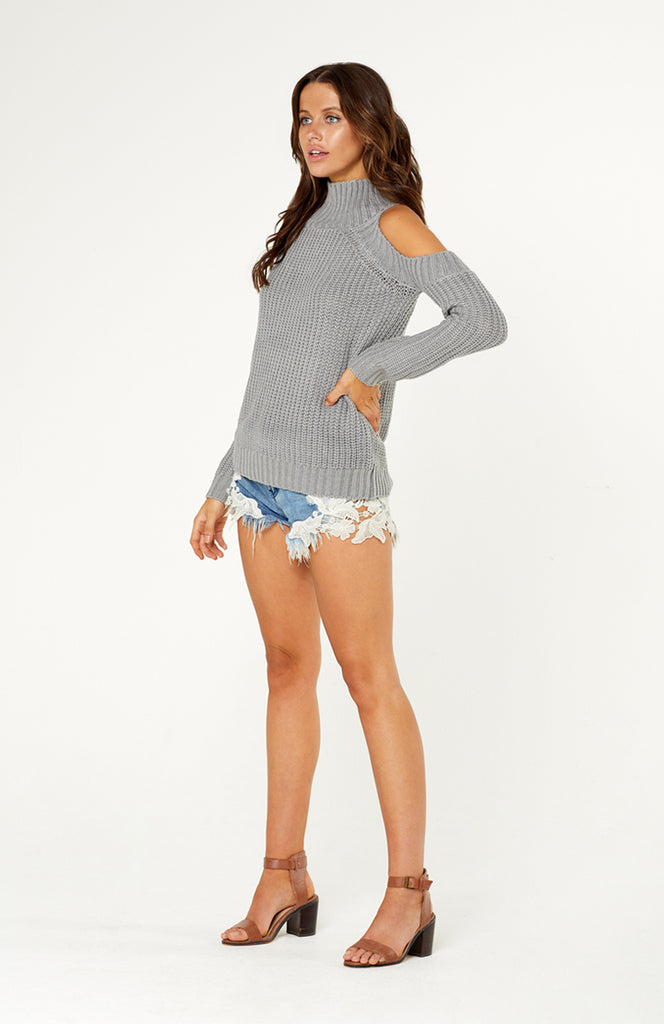Grey Wrap Me Up Knit with High Turtleneck, Cut-out Shoulders, Long Sleeves and Thick Stretchy Ribbed Fabric