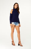 Navy Wrap Me Up Knit with High Turtleneck, Cut-out Shoulders, Long Sleeves and Thick Stretchy Ribbed Fabric