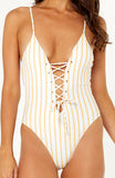 Finns stripe one piece swimsuit is high cut with lace-up detailing on both the front and back with gold eyelets. Adjustable spaghetti straps. Bust is padded.