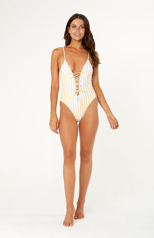Omnia Stripe One Piece Swimsuit