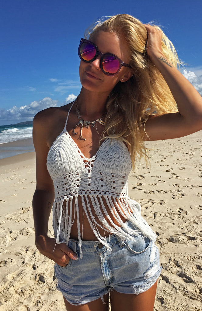 White Knitted Crochet Crop Halter with Fringe