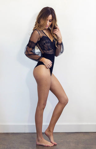 Long Sleeved Black Lace Bodysuit with Sheer Top and Back Zip