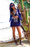 Blue Mini Dress with White Embroidery Detail and Bell Sleeves
