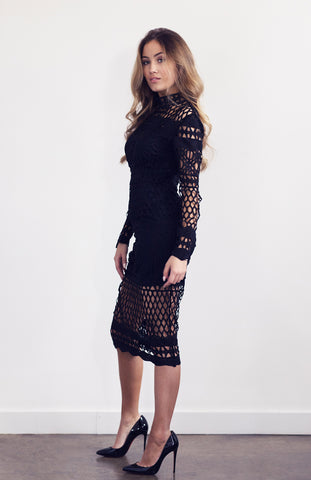 Black Lace High Neck Dress with Long Sleeves and Midi Length