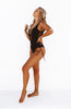 Black Front and Side Lace Up One Piece Swimsuit
