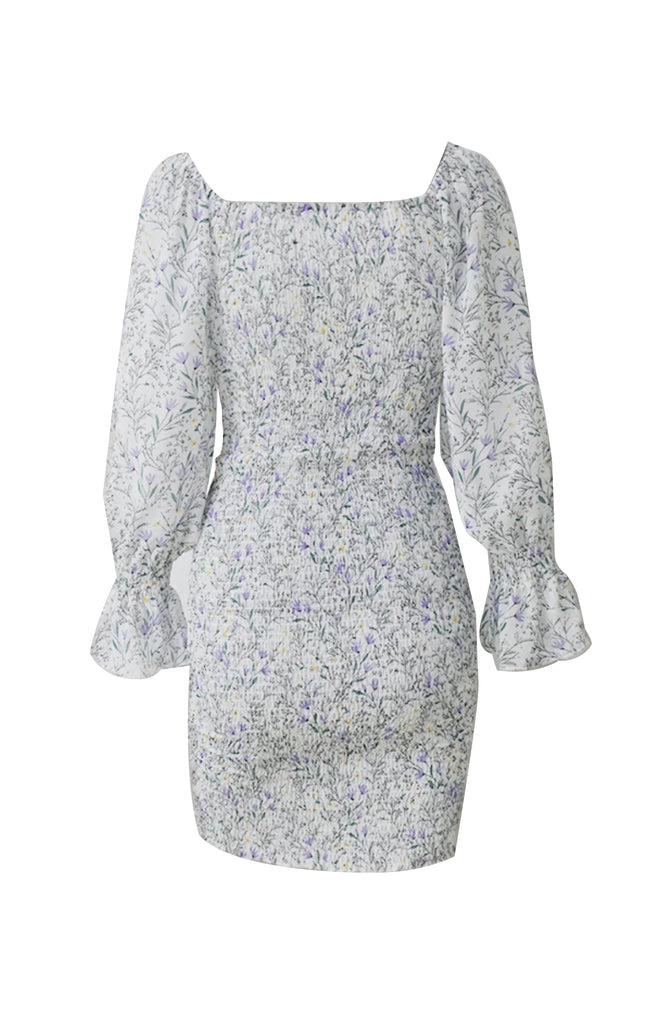 White floral long sleeved dress with adjustable front rouching