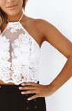 Embroidered White Sheer Mesh Halter Crop Top with Low Back
